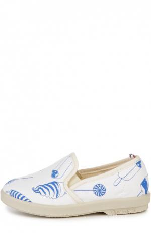 Слипоны с кожаной отделкой и принтом Rivieras Leisure Shoes. Цвет: бежевый