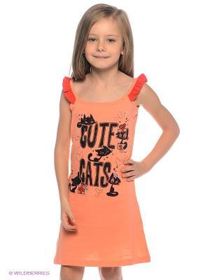 Сорочка Vienetta Secret. Цвет: персиковый, черный