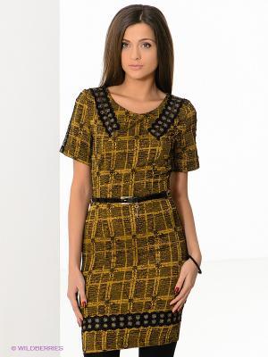 Платье FRENCH HINT. Цвет: горчичный, черный