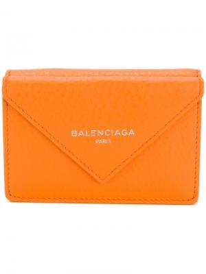 Мини-кошелек Papier Balenciaga. Цвет: жёлтый и оранжевый