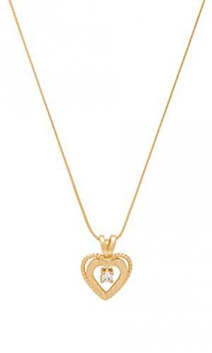 Ожерелье nora heart & crystal charm Vanessa Mooney. Цвет: металлический золотой