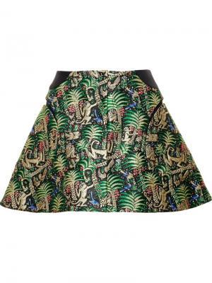 Жаккардовая юбка А-образного силуэта Delpozo. Цвет: многоцветный