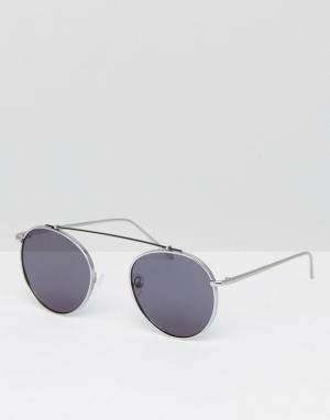 Jeepers Peepers Круглые солнцезащитные очки с двойной переносицей Jeeper. Цвет: серебряный