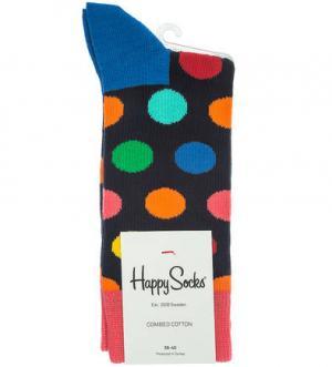 Разноцветные хлопковые носки в горошек Happy Socks. Цвет: синий