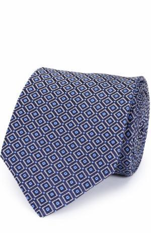 Шелковый галстук с узором Eton. Цвет: синий