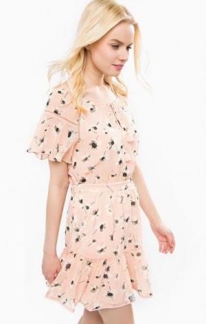 Короткое розовое платье Juicy Couture. Цвет: цветочный принт