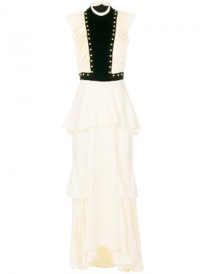 Длинное платье с оборками Philosophy Di Lorenzo Serafini. Цвет: телесный