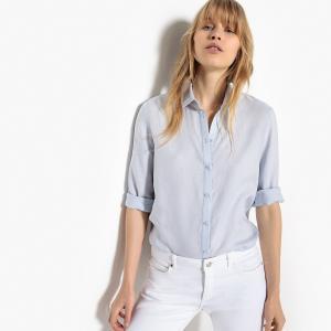 Рубашка однотонная прямого покроя, 100% лен La Redoute Collections. Цвет: голубой меланж,коричнево-желтый,черный,экрю