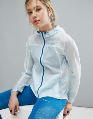 Nike Спортивная куртка с капюшоном. Цвет: синий