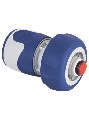 Коннектор с аквастопом для шланга 19 мм (3/4), пластик, TPR GREEN APPLE. Цвет: белый, синий
