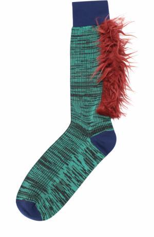 Хлопковые носки с декоративной отделкой Marni. Цвет: зеленый