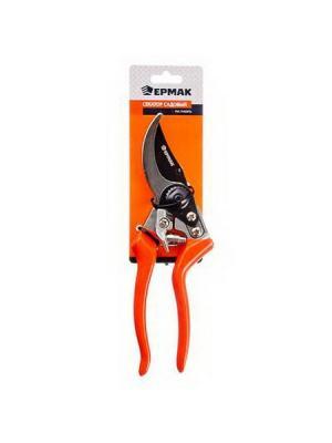 Секатор садовый 8 (сталь50), алюмин.ручки, возвратная, пружина, PVC рукоять Ермак. Цвет: оранжевый