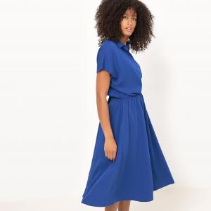 Платье-рубашка однотонная La Redoute Collections. Цвет: белый