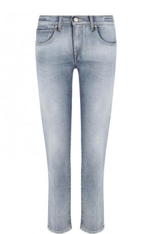 Укороченные джинсы прямого кроя с потертостями Jacob Cohen. Цвет: голубой