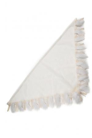 Шаль с мехом песца SO-182372 Mooffi. Цвет: белый
