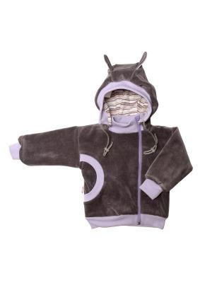 Куртка-косушка с капюшоном велюр МИКИТА. Цвет: серый,фиолетовый