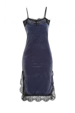 Велюровое платье-комбинация 163468 Private Sun. Цвет: синий