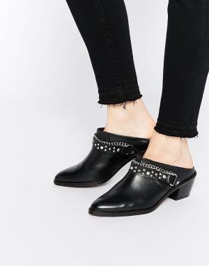 Hudson London Черные кожаные сабо-ботинки с заклепками Malen. Цвет: черный