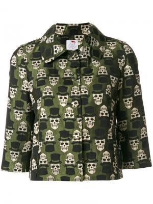 Укороченная куртка с черепами Ultràchic. Цвет: зелёный