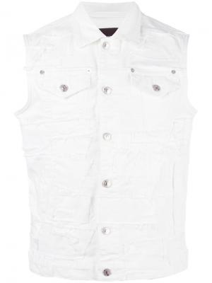 Рваная джинсовая куртка без рукавов Dsquared2. Цвет: белый