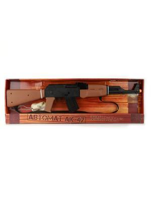 Автомат АК-47 со светом, звуком и вибрацией, с ремнем. Играем вместе. Цвет: коричневый, черный
