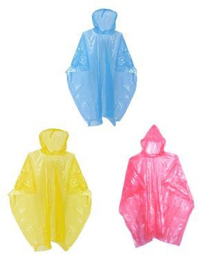 Плащ-дождевик с капюшоном, без кнопок, одноразовый (набор 3 шт.) Радужки. Цвет: синий, желтый, розовый