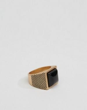 Icon Brand Золотистое кольцо с камнем. Цвет: золотой