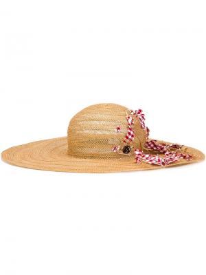 Широкополая шляпа Maison Michel. Цвет: телесный