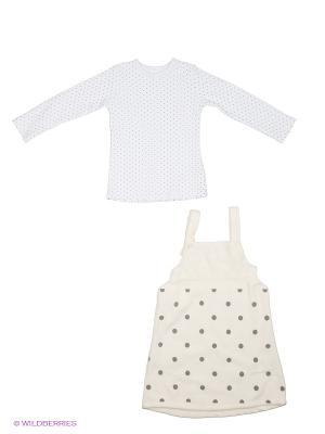 Комплект (платье+джемпер) Bubble kids. Цвет: кремовый, белый