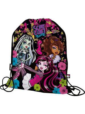 Мешок для обуви.Monster High Monster. Цвет: голубой, розовый, черный