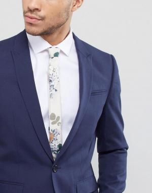 ASOS Галстук с принтом роз DESIGN Wedding. Цвет: бежевый