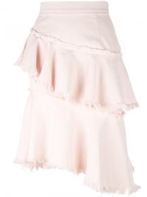 Асимметричная расклешенная юбка Marco Bologna. Цвет: розовый и фиолетовый