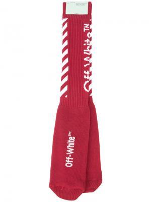 Носки в рубчик Off-White. Цвет: красный