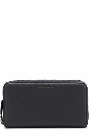 Кожаное портмоне на молнии с отделениями для кредитных карт и монет Ermenegildo Zegna. Цвет: темно-синий