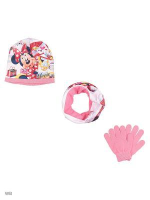 Комплект шапка, шарф-труба и перчатки Sun City. Цвет: розовый