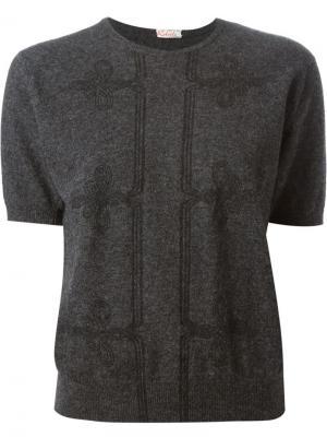 Джемпер с вышивкой геральдических лилий Roberta  Di Camerino Vintage. Цвет: серый
