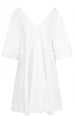 Мини-платье свободного кроя из хлопка The Row. Цвет: белый