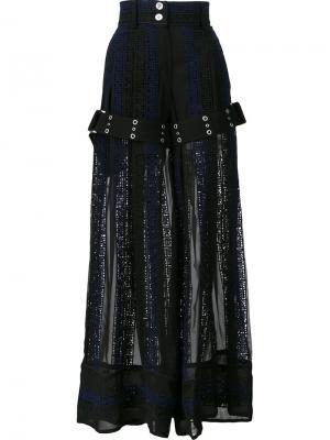 Широкие брюки с каллиграфической вышивкой Sacai. Цвет: синий