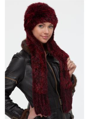 Шапка-шарф Вязаный мех. Цвет: бордовый