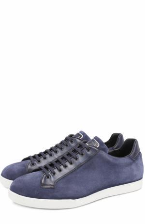 Кожаные кеды на шнуровке W.Gibbs. Цвет: темно-синий