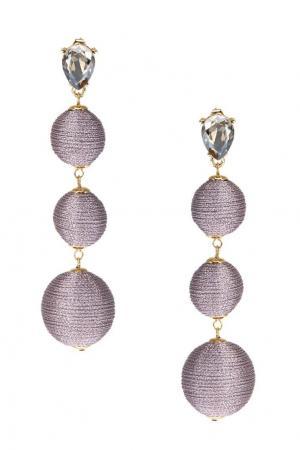 Серьги-шары с отделкой розовыми нитками Lisa Smith. Цвет: светло-лиловый/прозрачный/золотой