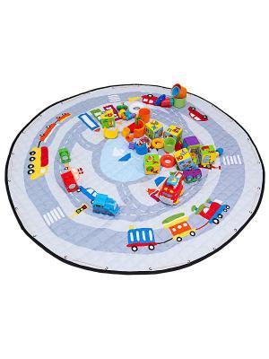 Сумка-коврик для игрушек Город, 150 см Homsu. Цвет: светло-голубой, светло-серый, белый