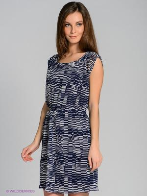 Платье Stefanel. Цвет: темно-синий, белый