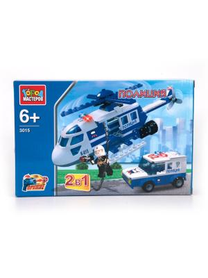 Конструктор Город мастеров 2-в-1 Полиция вертолет+машина с фигуркой.. Цвет: синий,белый