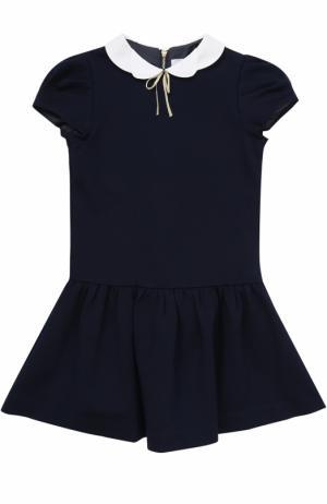Трикотажное мини-платье с фигурным воротником Tartine Et Chocolat. Цвет: синий