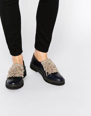 Miista Кожаные туфли на плоской подошве Myla. Цвет: темно-синий