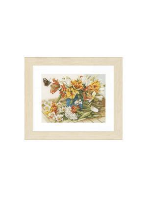 Набор для вышивания Daffodils-Tulips /Тюльпаны-Нарциссы/ 34*26см Vervaco. Цвет: коричневый, желтый, зеленый, оранжевый