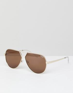 Quay Australia Золотистые солнцезащитные очки-авиаторы Supernova. Цвет: золотой