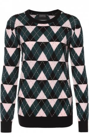 Пуловер прямого кроя с геометрическим узором и вышивкой Markus Lupfer. Цвет: черный