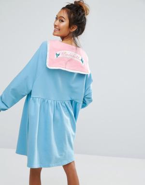 Lazy Oaf Платье-футболка X Disney Cinderella. Цвет: синий